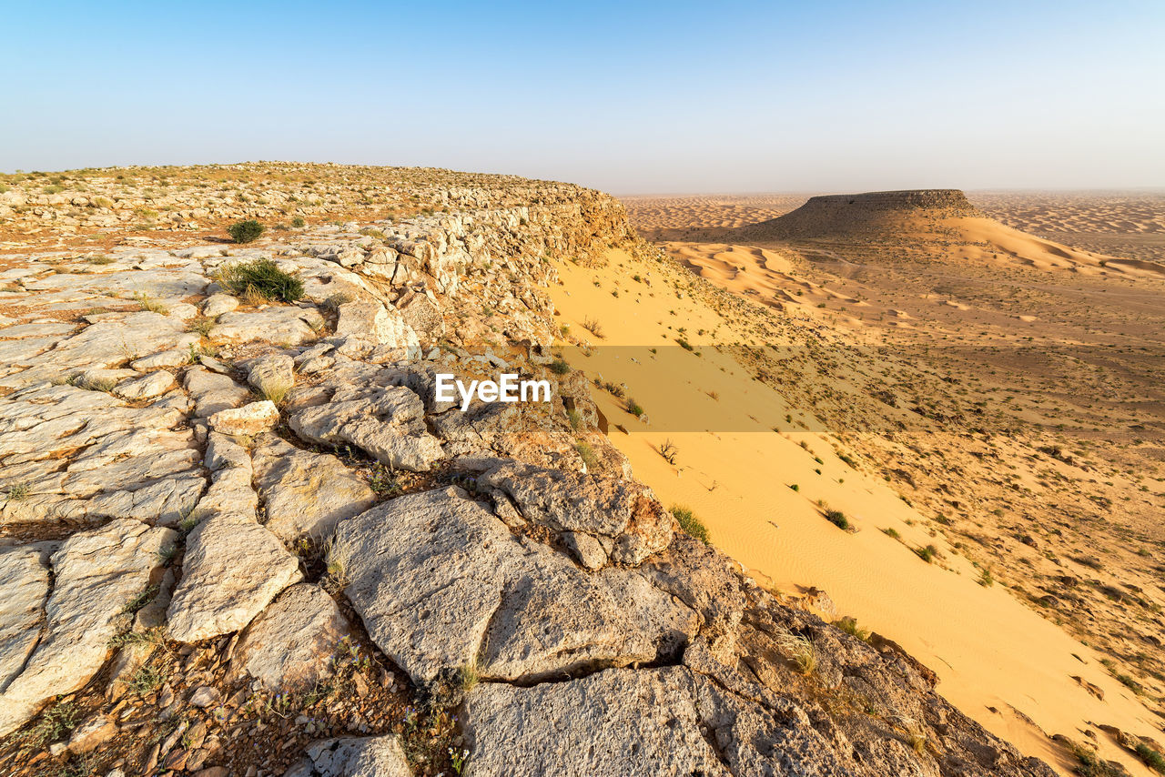 scenics - nature, sky, beauty in nature, tranquil scene, tranquility, climate, arid climate, desert, land, non-urban scene, nature, landscape, environment, rock, rock - object, day, clear sky, physical geography, remote, rock formation, no people, outdoors, formation, eroded