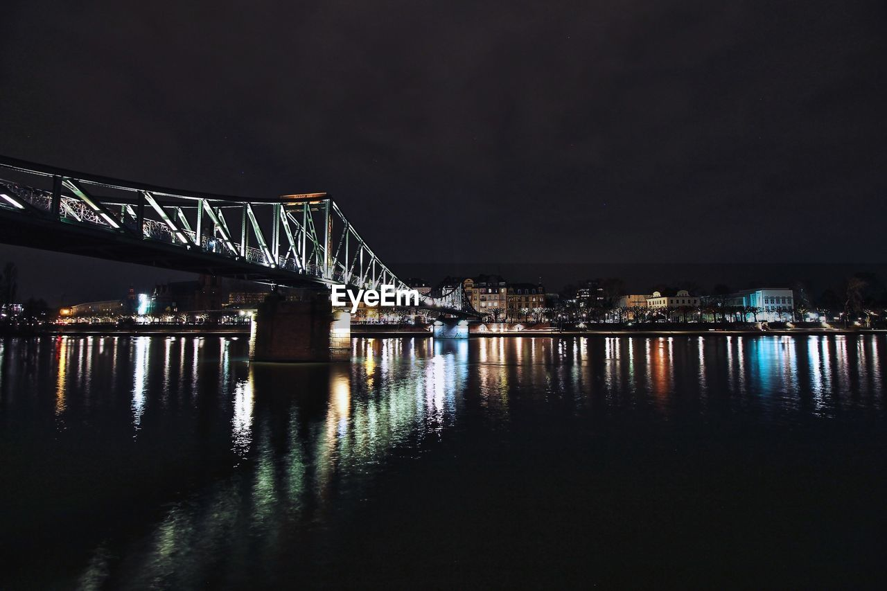 night, architecture, built structure, illuminated, bridge - man made structure, connection, engineering, river, reflection, water, sky, transportation, no people, outdoors, building exterior, city, nature, chain bridge