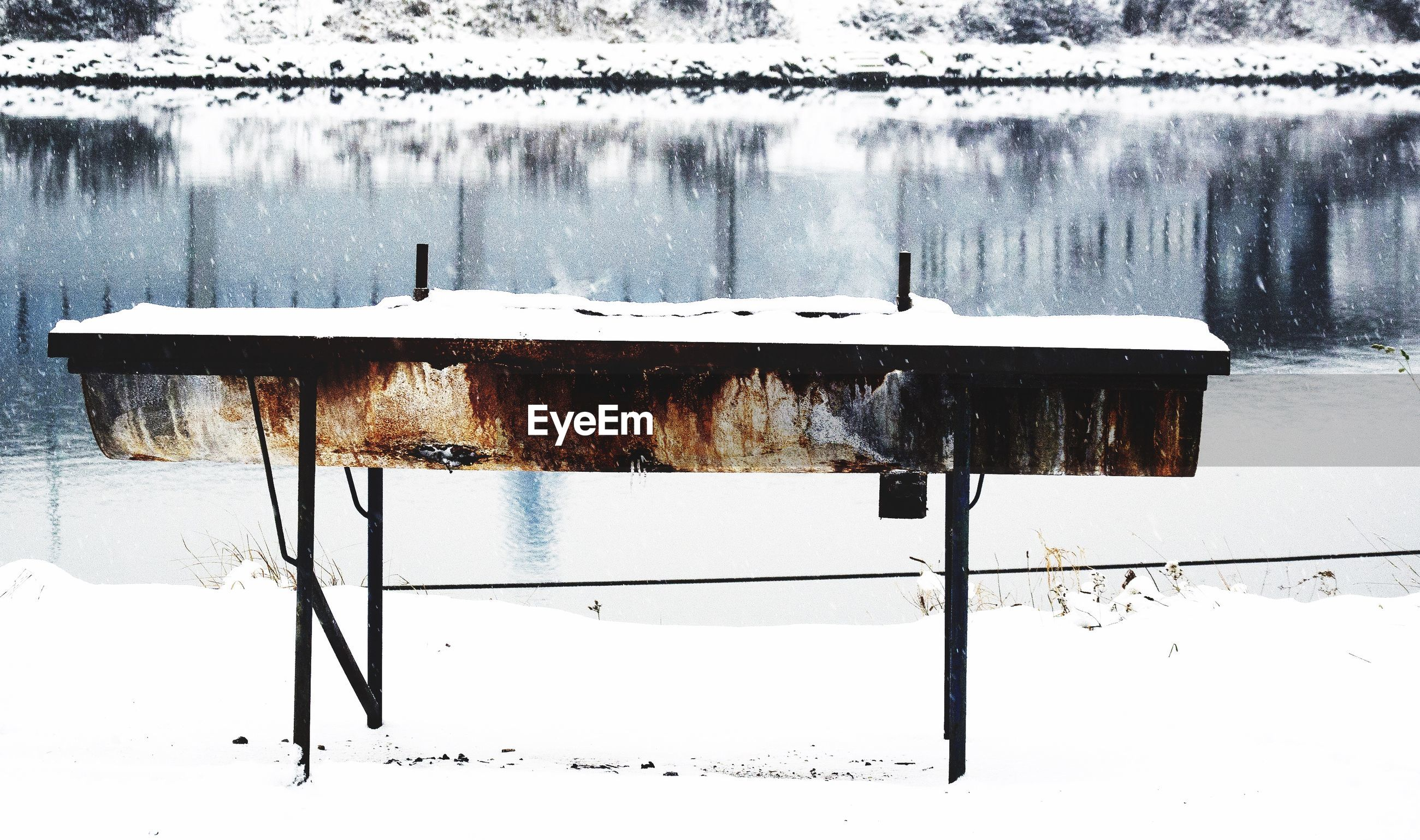 winter, snow, cold temperature, lake, season, tranquility, water, white color, nature, weather, frozen, reflection, tranquil scene, bench, wood - material, chair, covering, no people, day, fence