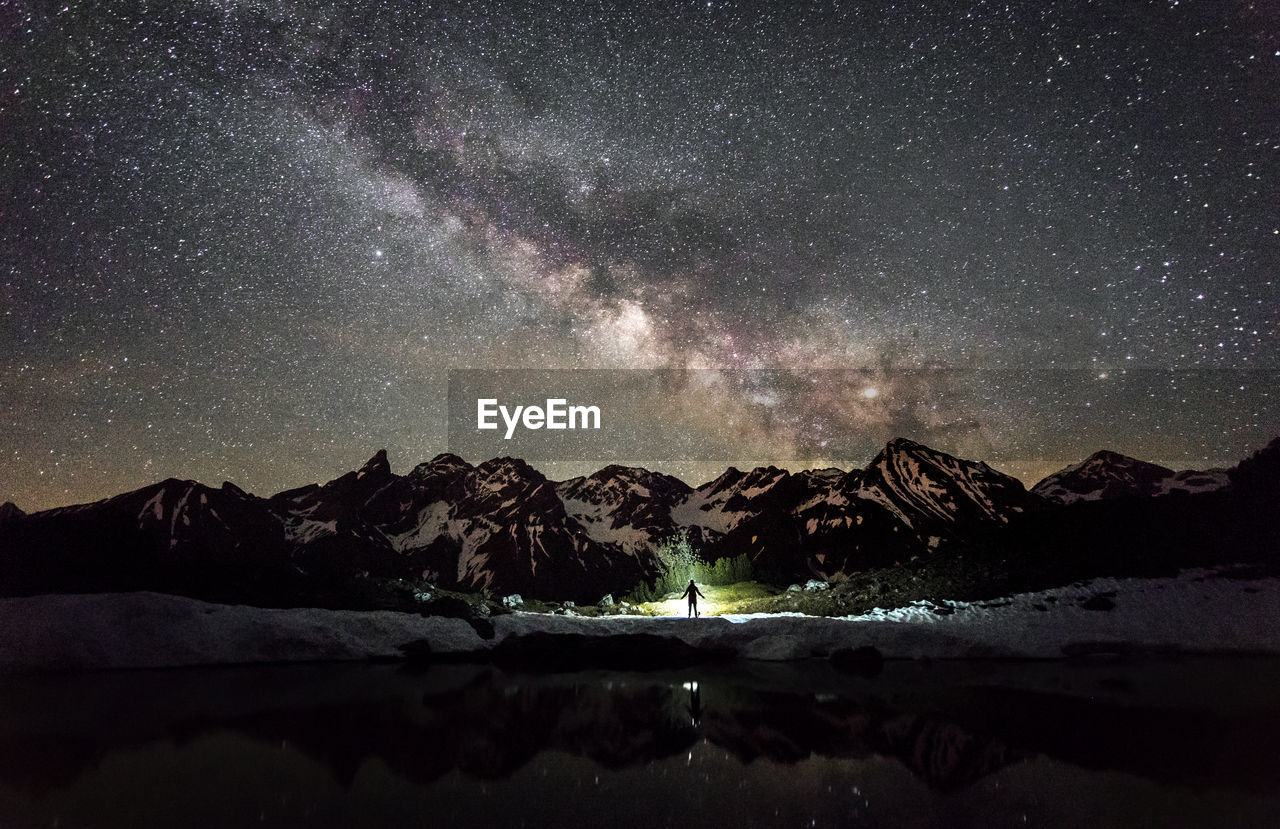 Scenic View Of Bavarian Alps Against Star Field At Night