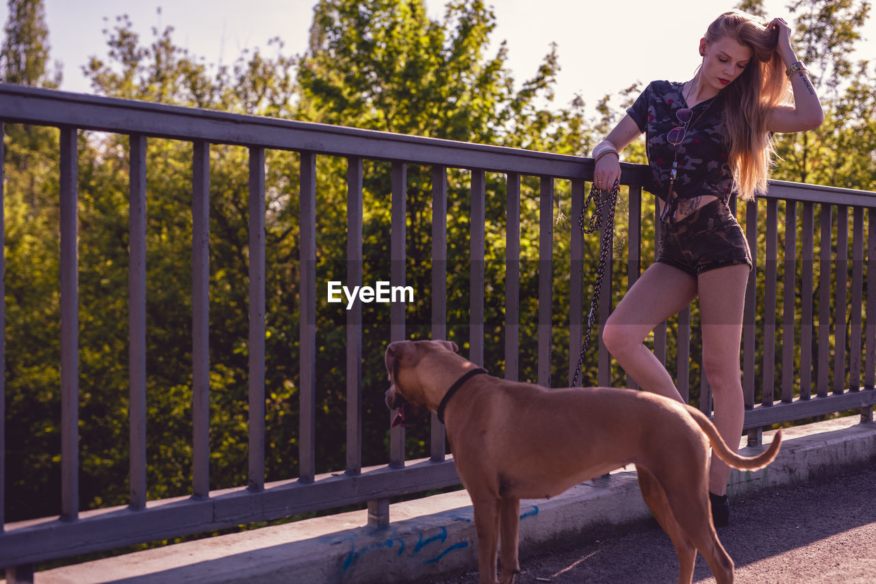 Young Woman Standing By Dog On Footbridge