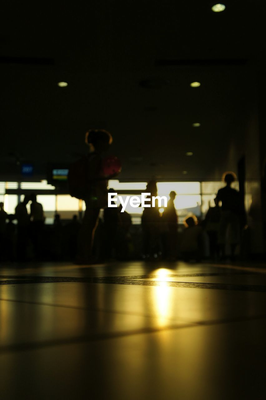 Silhouette people at antalya airport