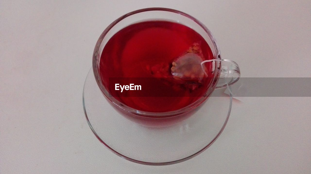 High Angle View Of Hibiscus Tea On White Background