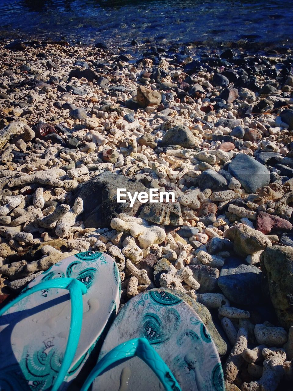 beach, water, shore, pebble, day, nature, outdoors, sea, no people, high angle view, pebble beach, sand, blue, sunlight, beauty in nature, close-up