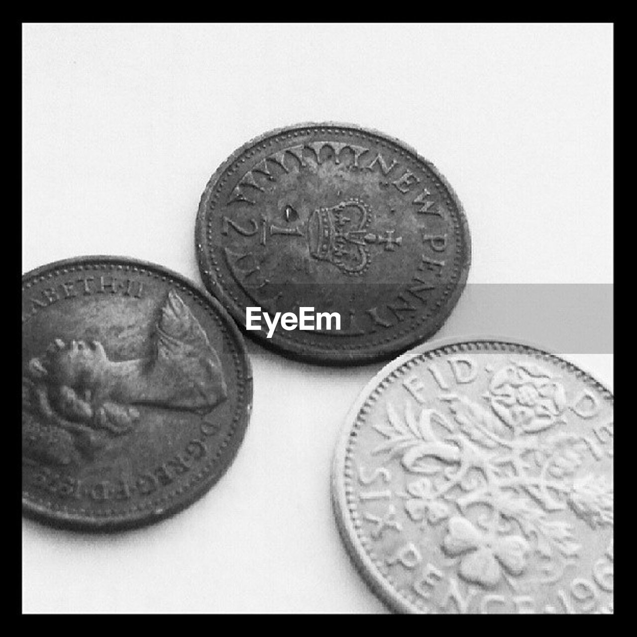 coin, finance, currency, wealth, circle, money, metal, close-up, studio shot, no people, savings, history, white background, indoors, day