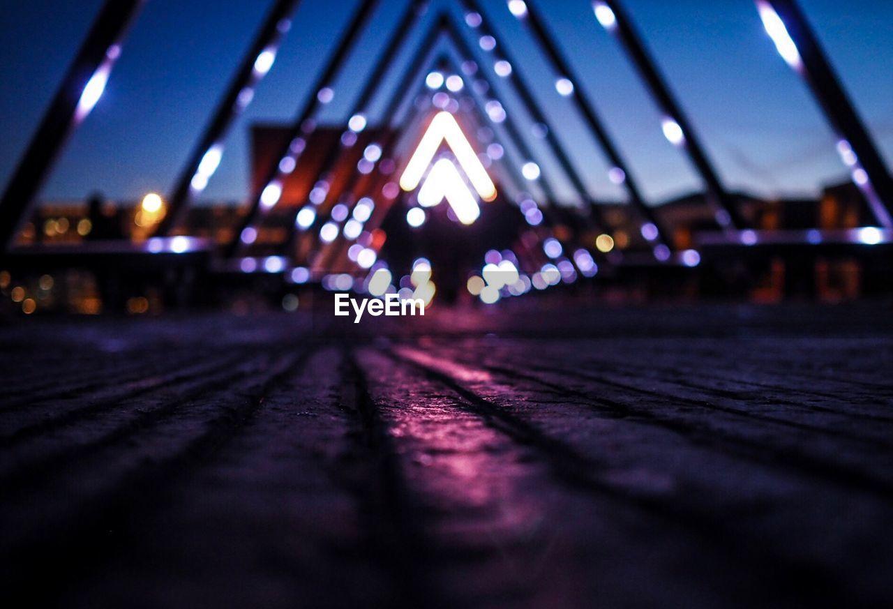 Surface Level Of Illuminated Bridge At Night