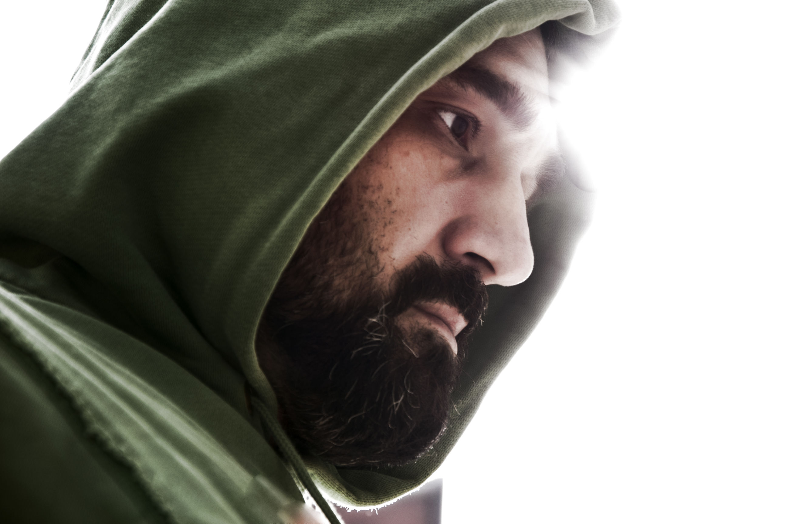 Close-up of man wearing hooded clothing