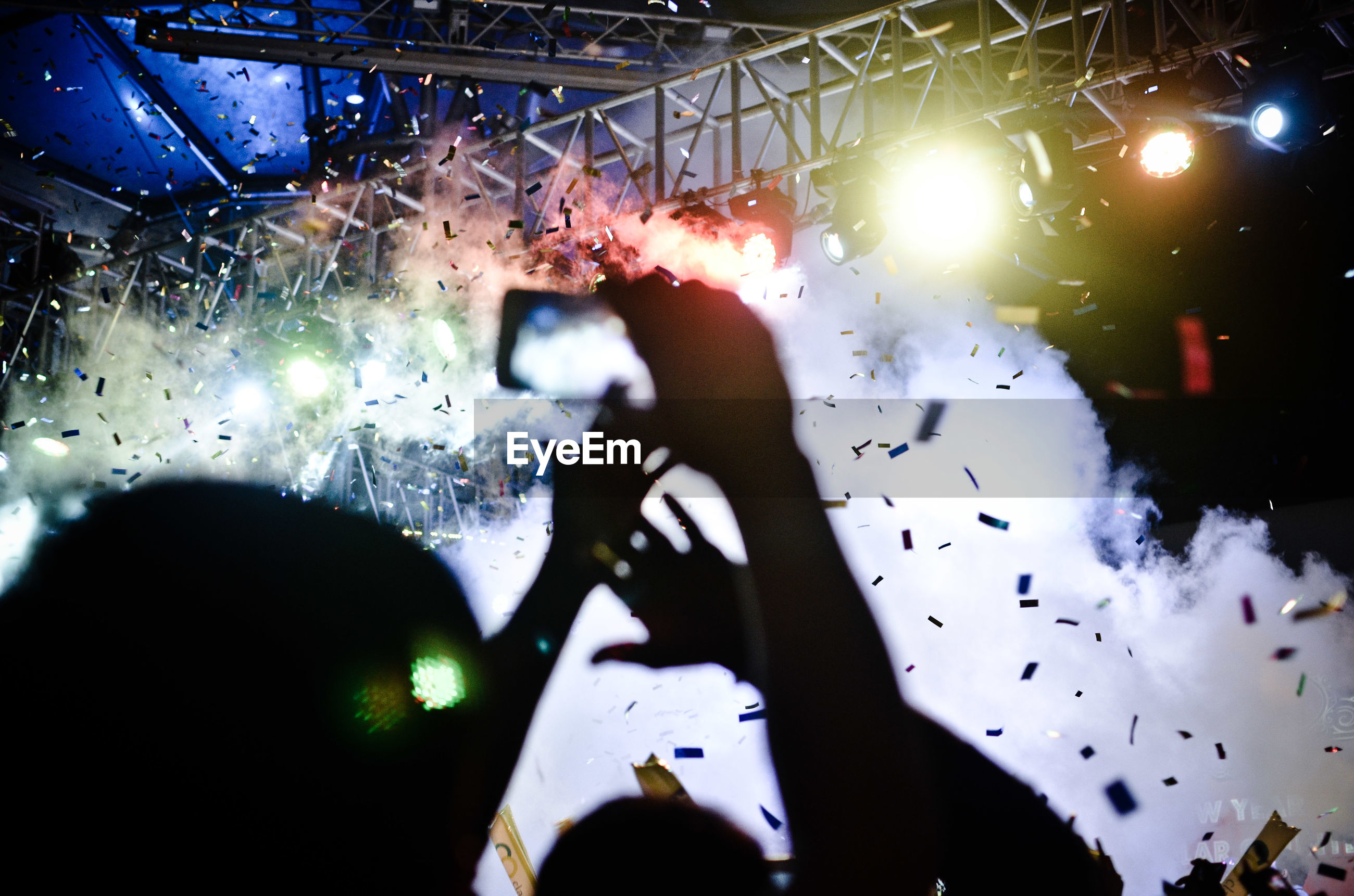 People in music concert at night