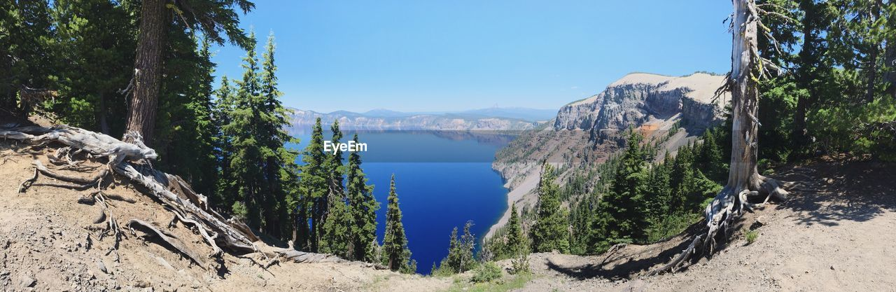 Panoramic View Of Crater Lake Against Sky