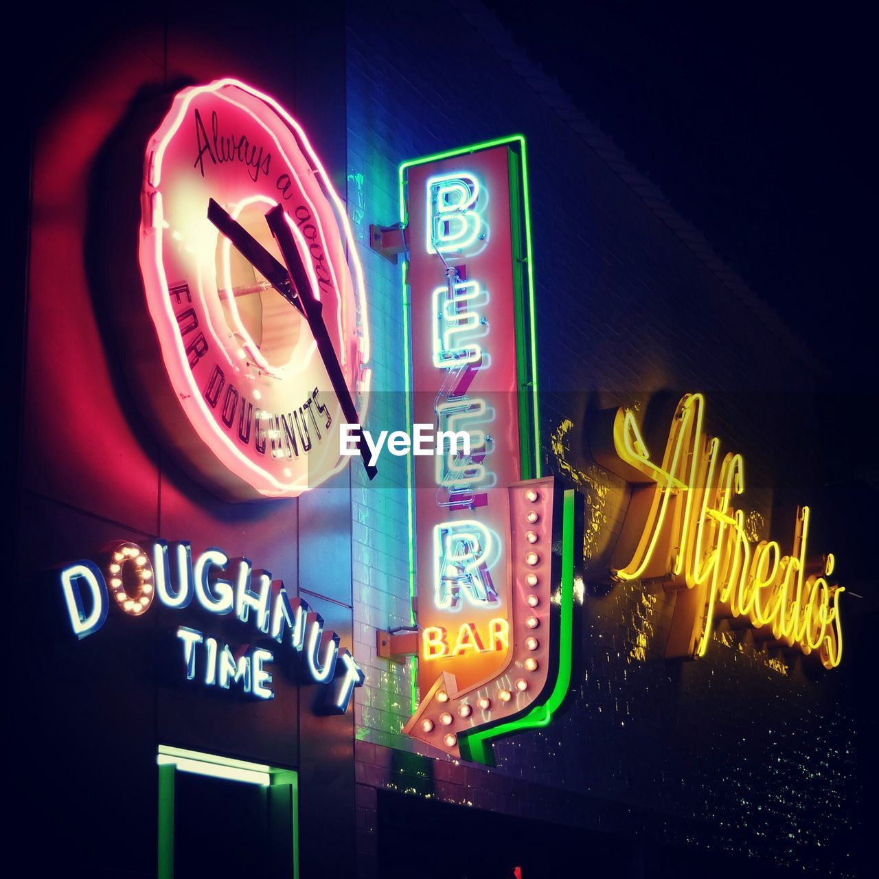 illuminated, neon, night, text, communication, no people, nightlife, low angle view, outdoors