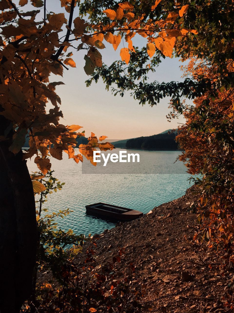 Scenic view of sea against sky during autumn