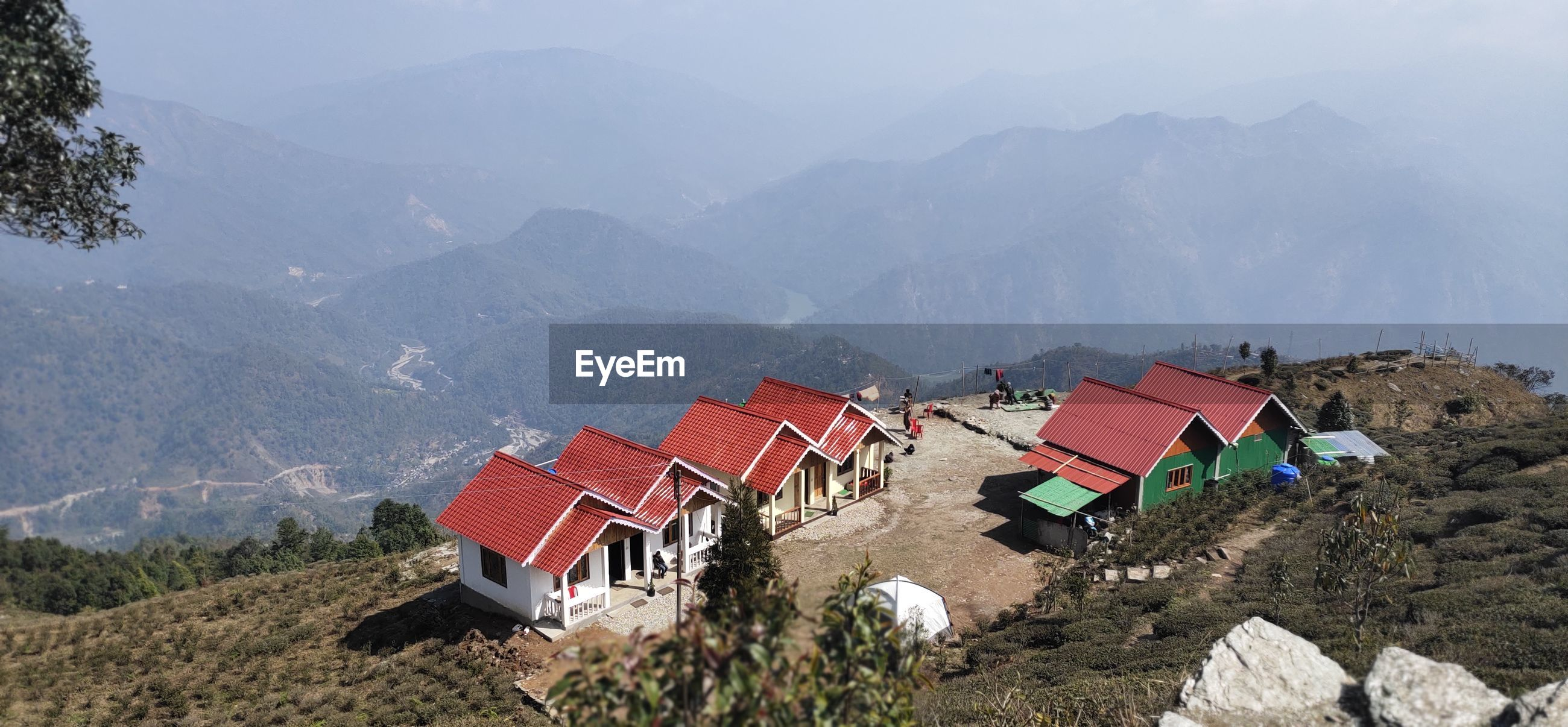 High angle view of mountain range against sky