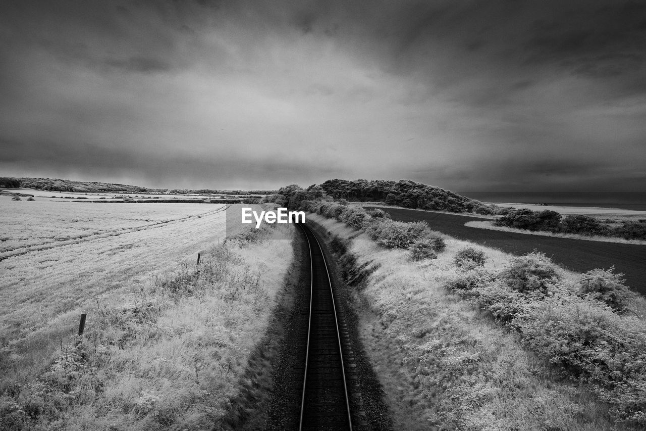 the way forward, transportation, railroad track, sky, no people, nature, tranquil scene, cloud - sky, scenics, day, outdoors, landscape, beauty in nature, cold temperature, tranquility, winter