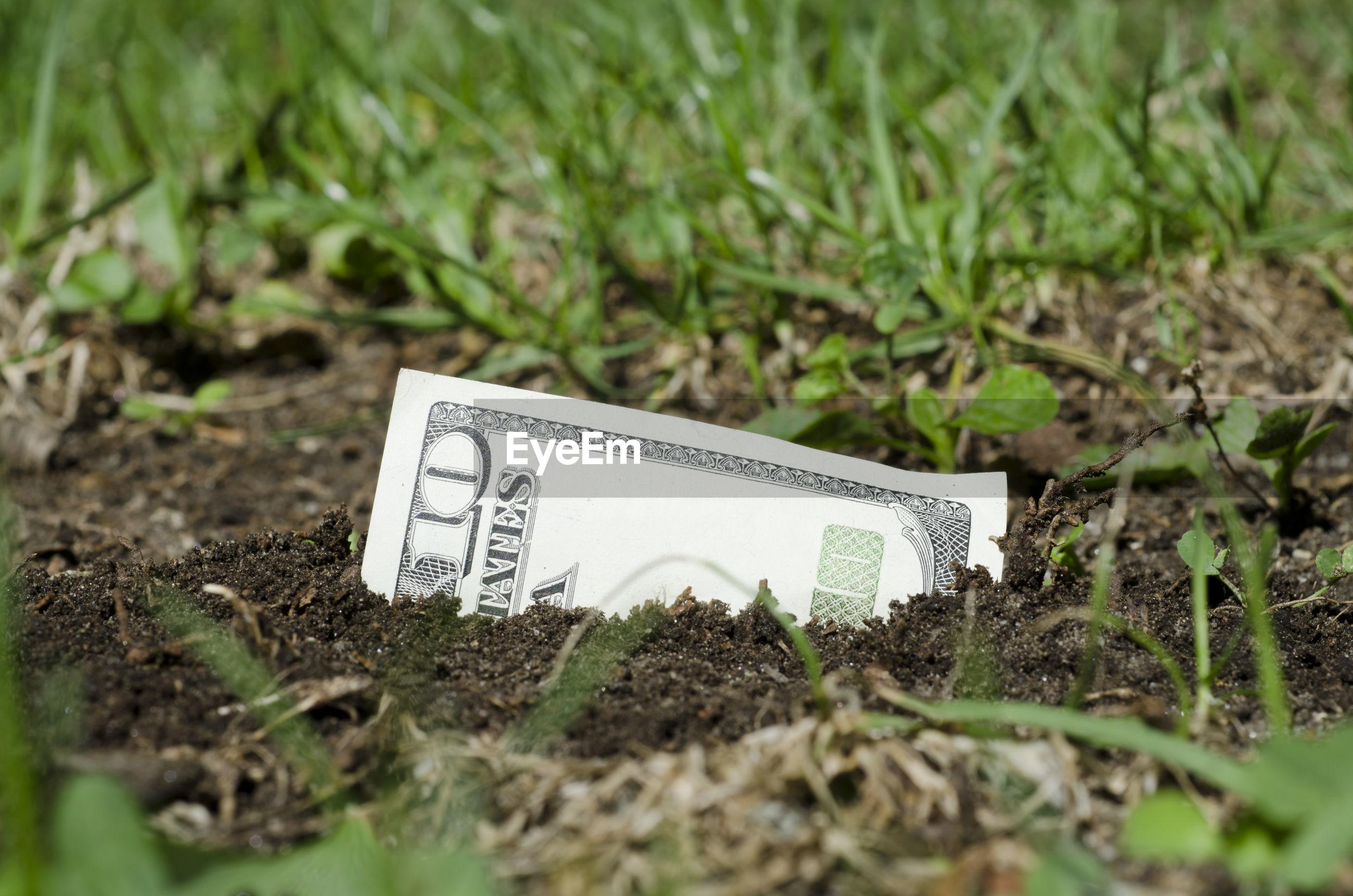 Close-up of american ten dollar bill in sand