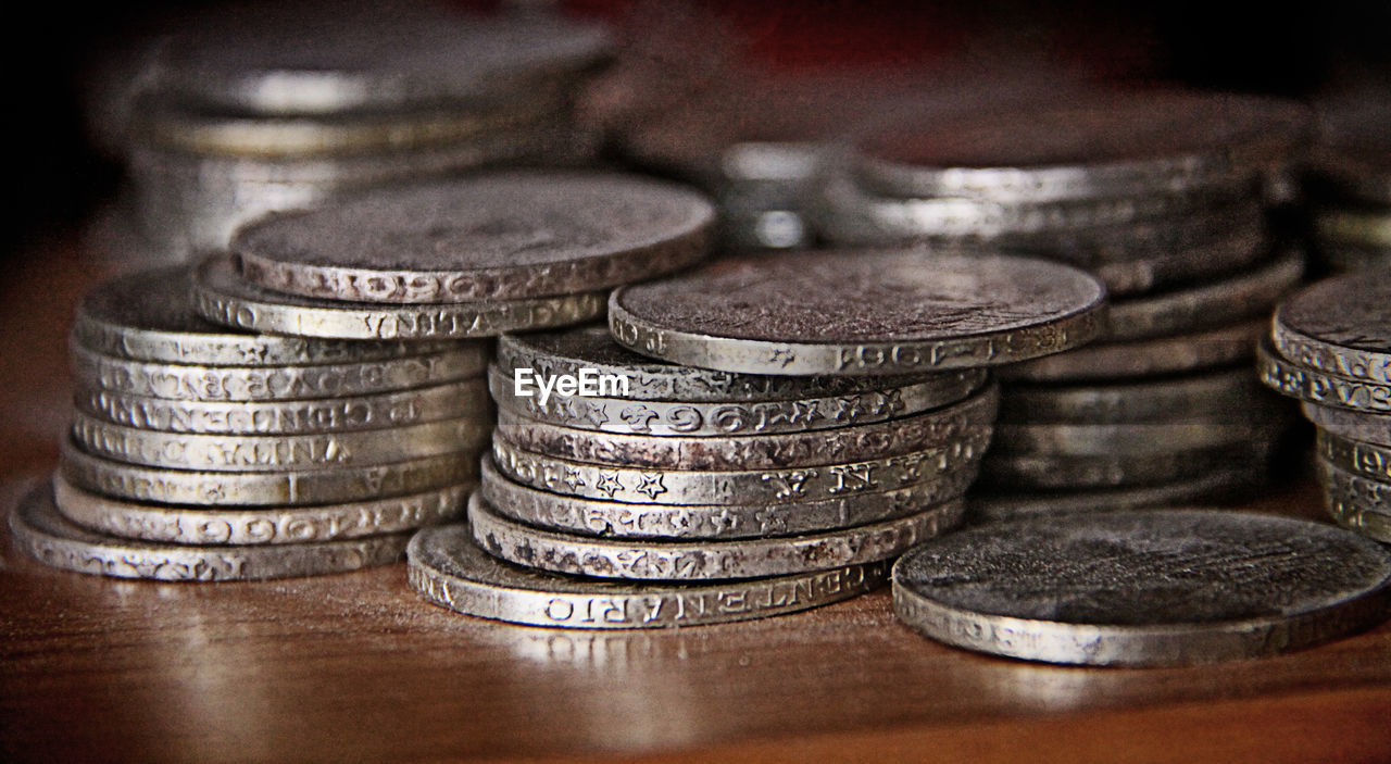 coin, finance, wealth, stack, savings, currency, heap, indoors, no people, large group of objects, close-up, day