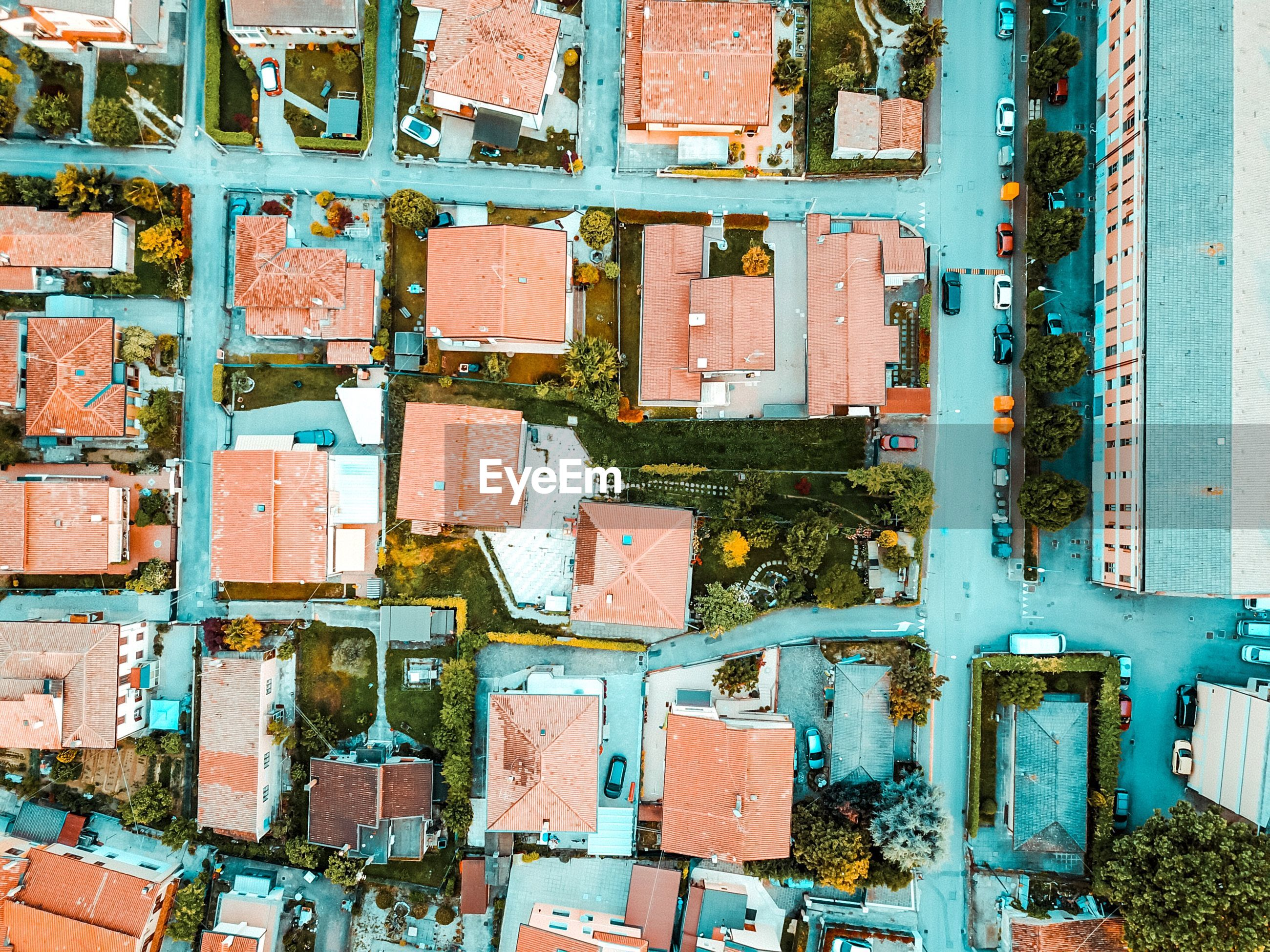 Directly above shot of houses in city