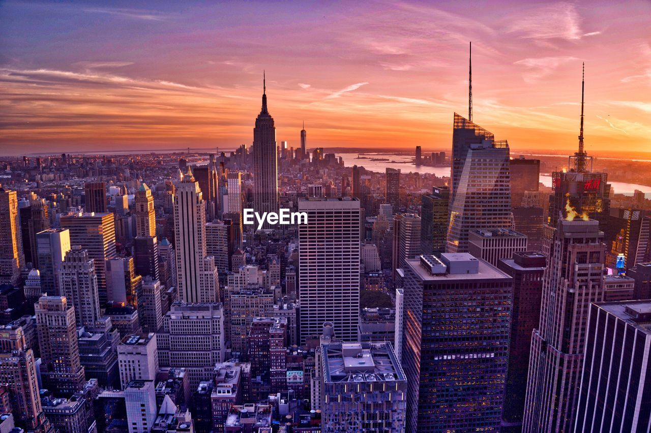 View of cityscape at sunset