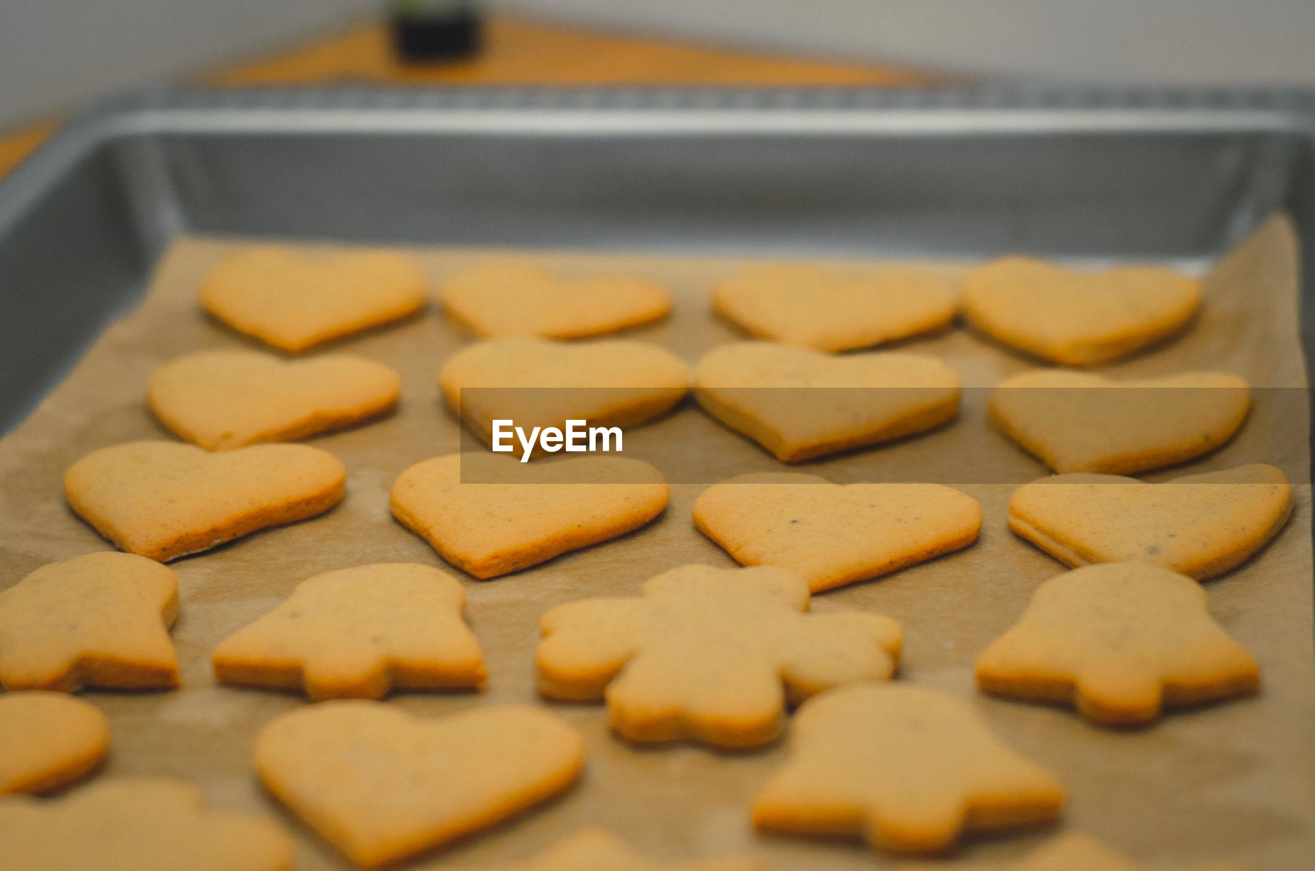 Close-up of cookies in baking sheet
