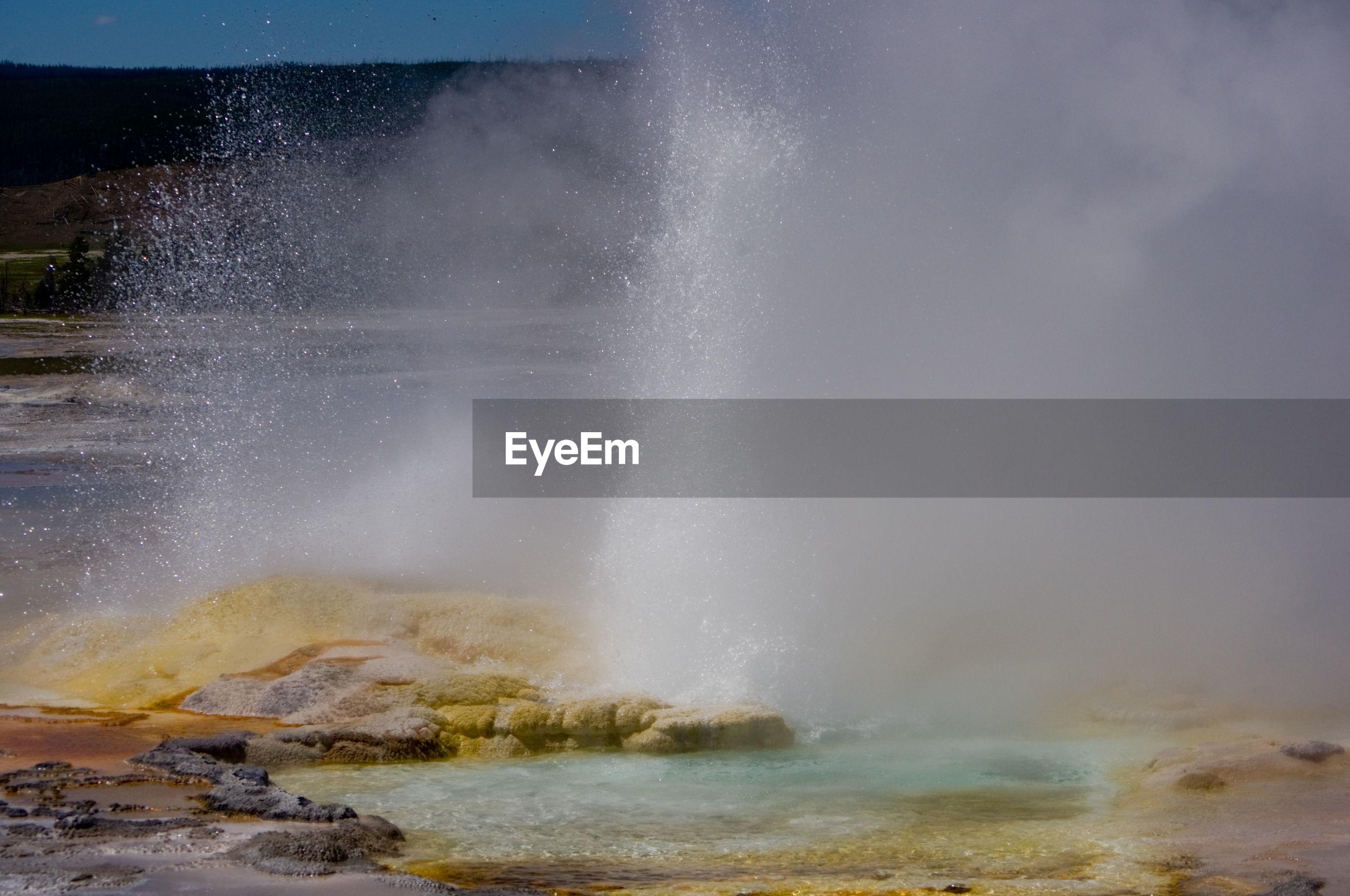 View of waves breaking in hot spring
