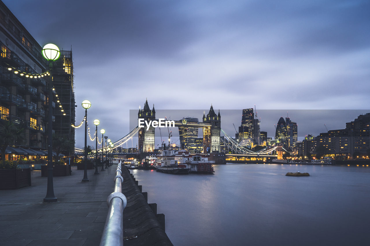 View Of Illuminated Waterfront