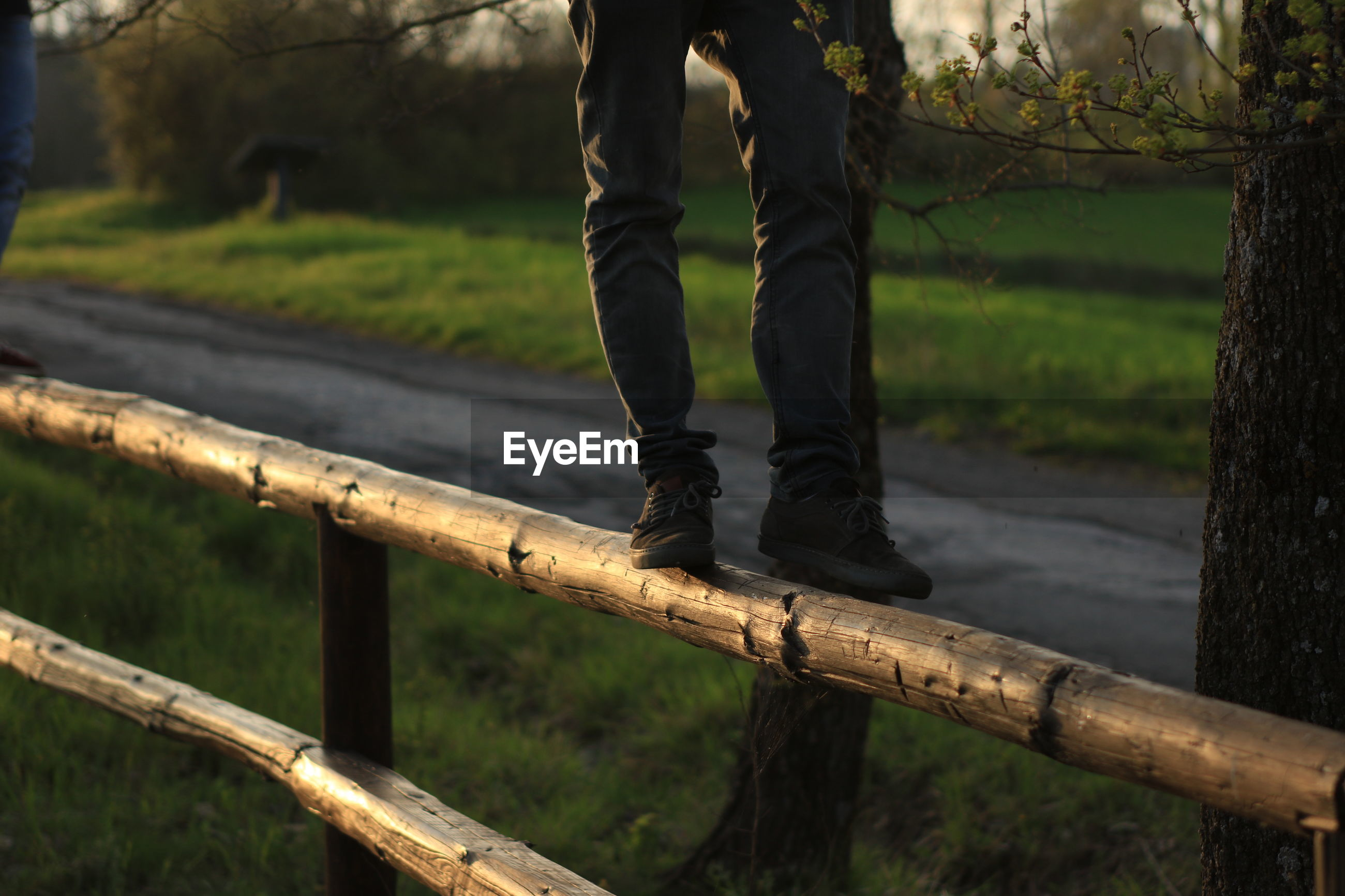 Low section of man standing on wooden railing at park