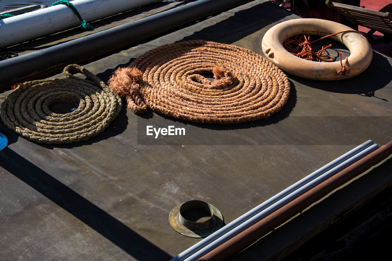 High angle view of rope in boat