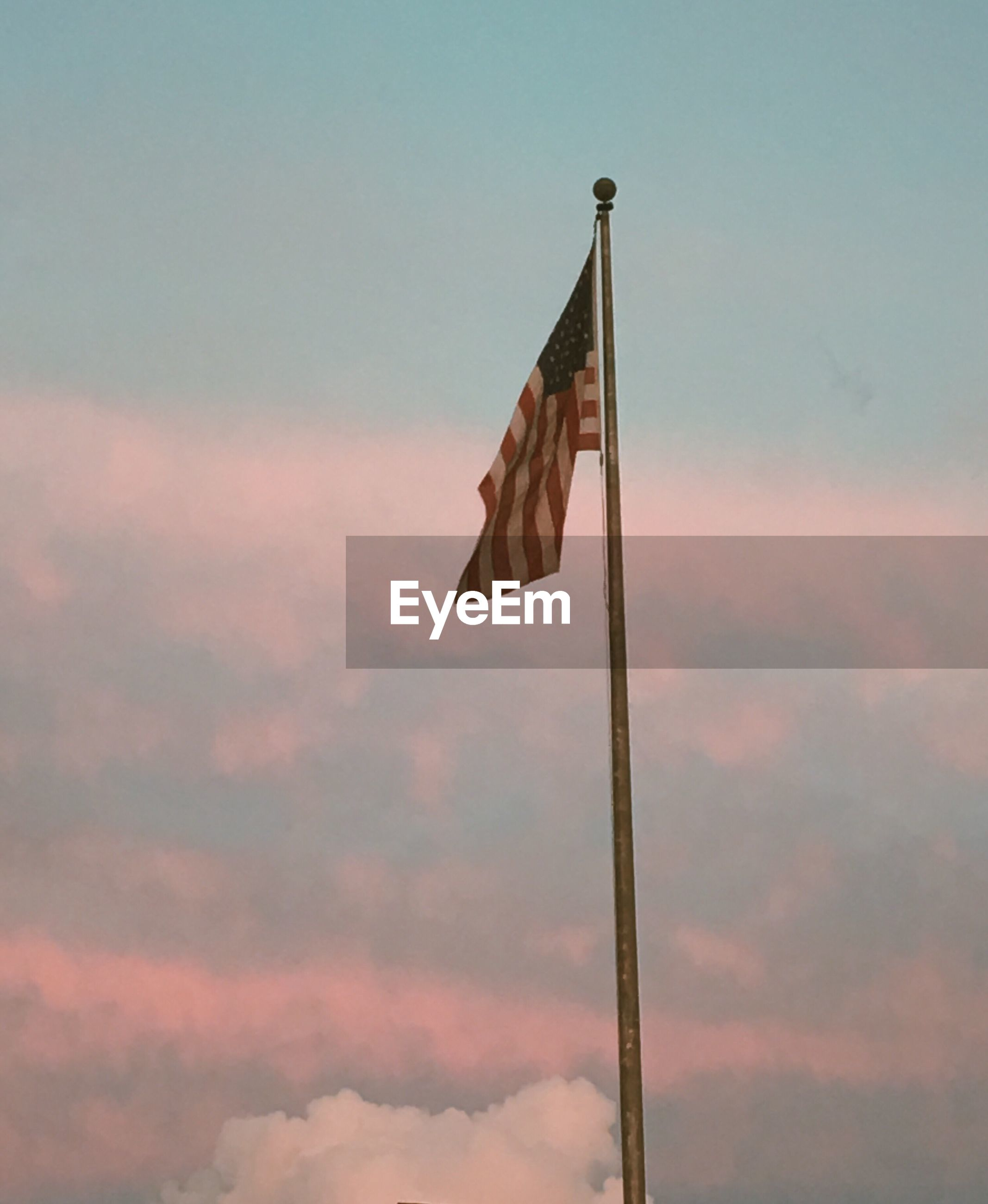 flag, patriotism, pole, flag pole, sky, low angle view, no people, fluttering, outdoors, day, nature, stars and stripes