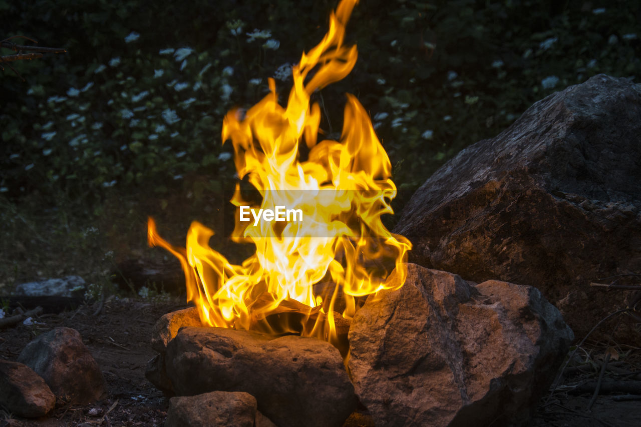 burning, flame, heat - temperature, outdoors, no people, motion, bonfire, close-up, day, nature