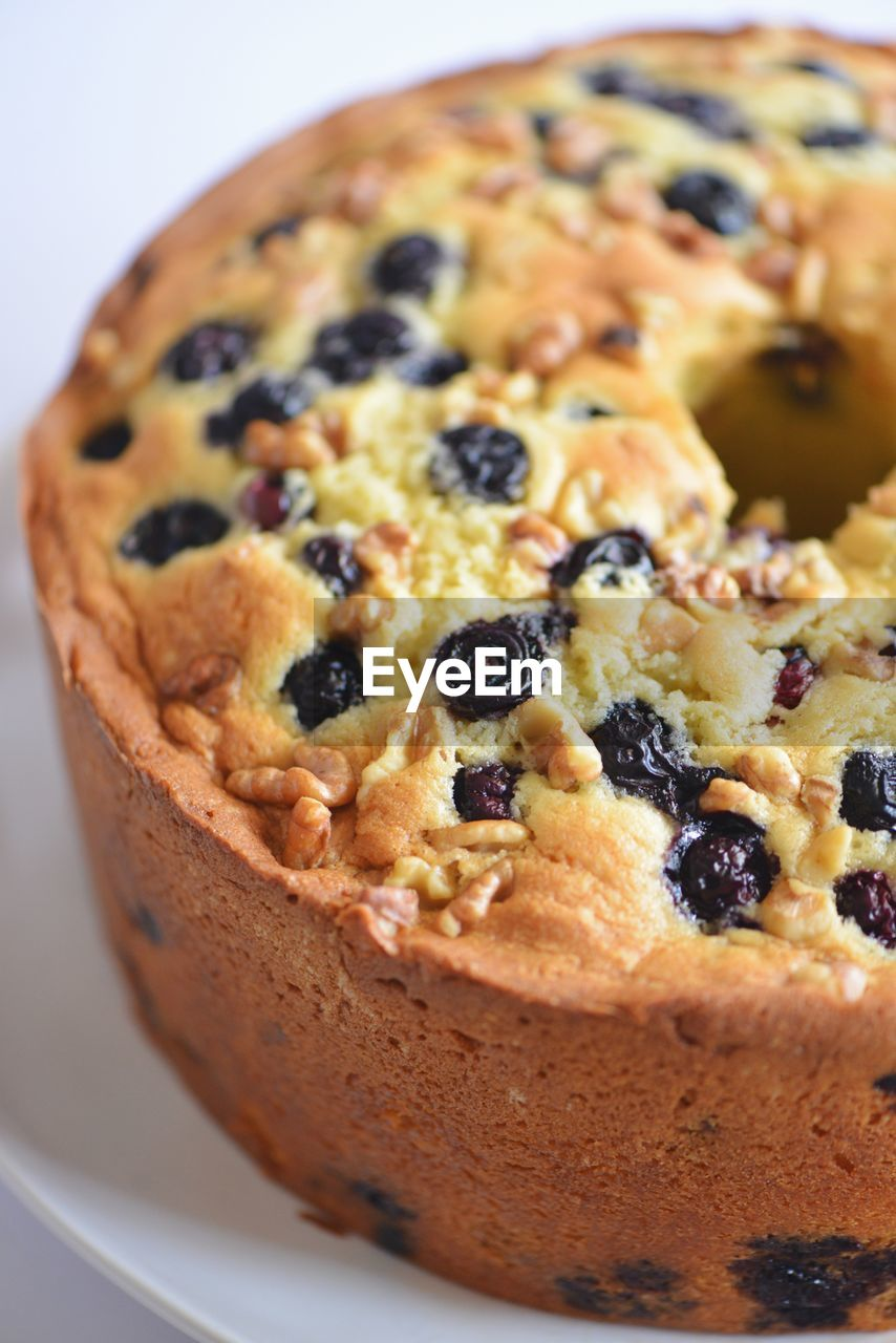 Close-Up Of Blueberry Cake In Plate