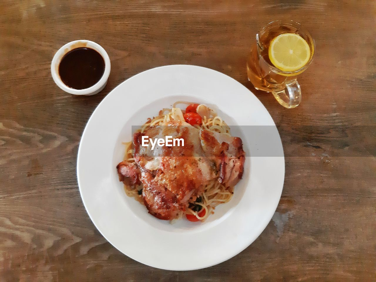 food and drink, table, food, freshness, drink, refreshment, ready-to-eat, glass, indoors, plate, drinking glass, high angle view, still life, directly above, serving size, no people, wood - material, household equipment, meat, meal, breakfast, temptation