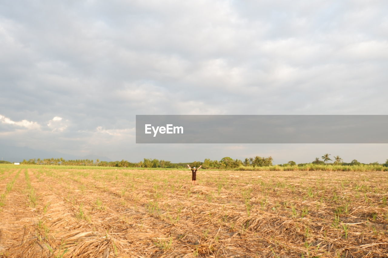 MAN ON AGRICULTURAL FIELD AGAINST SKY