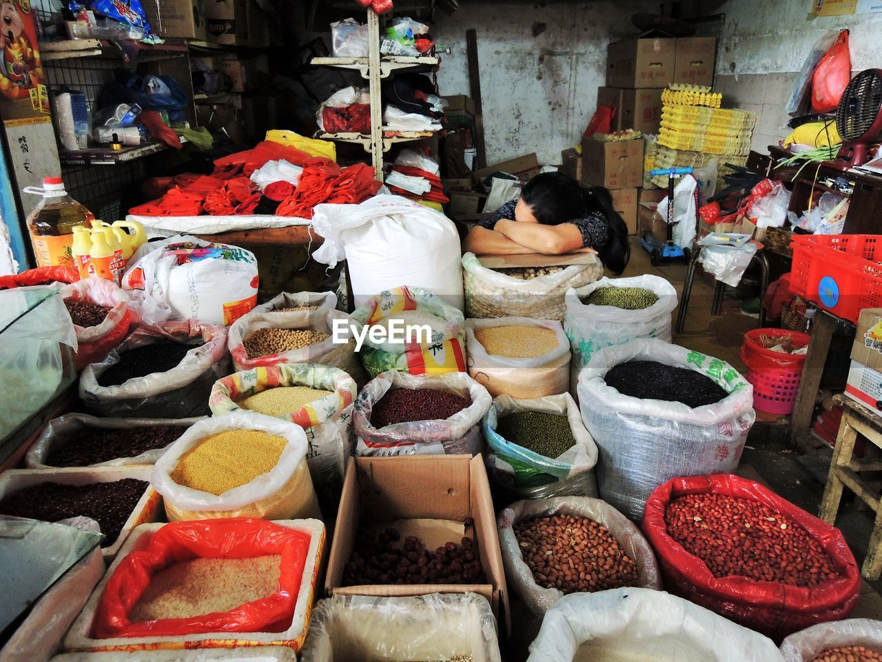VARIOUS FOOD FOR SALE AT MARKET