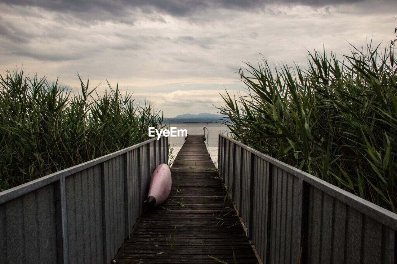 railing, nature, sky, cloud - sky, sea, the way forward, water, outdoors, tranquility, tranquil scene, day, growth, wood paneling, beauty in nature, scenics, horizon over water, no people