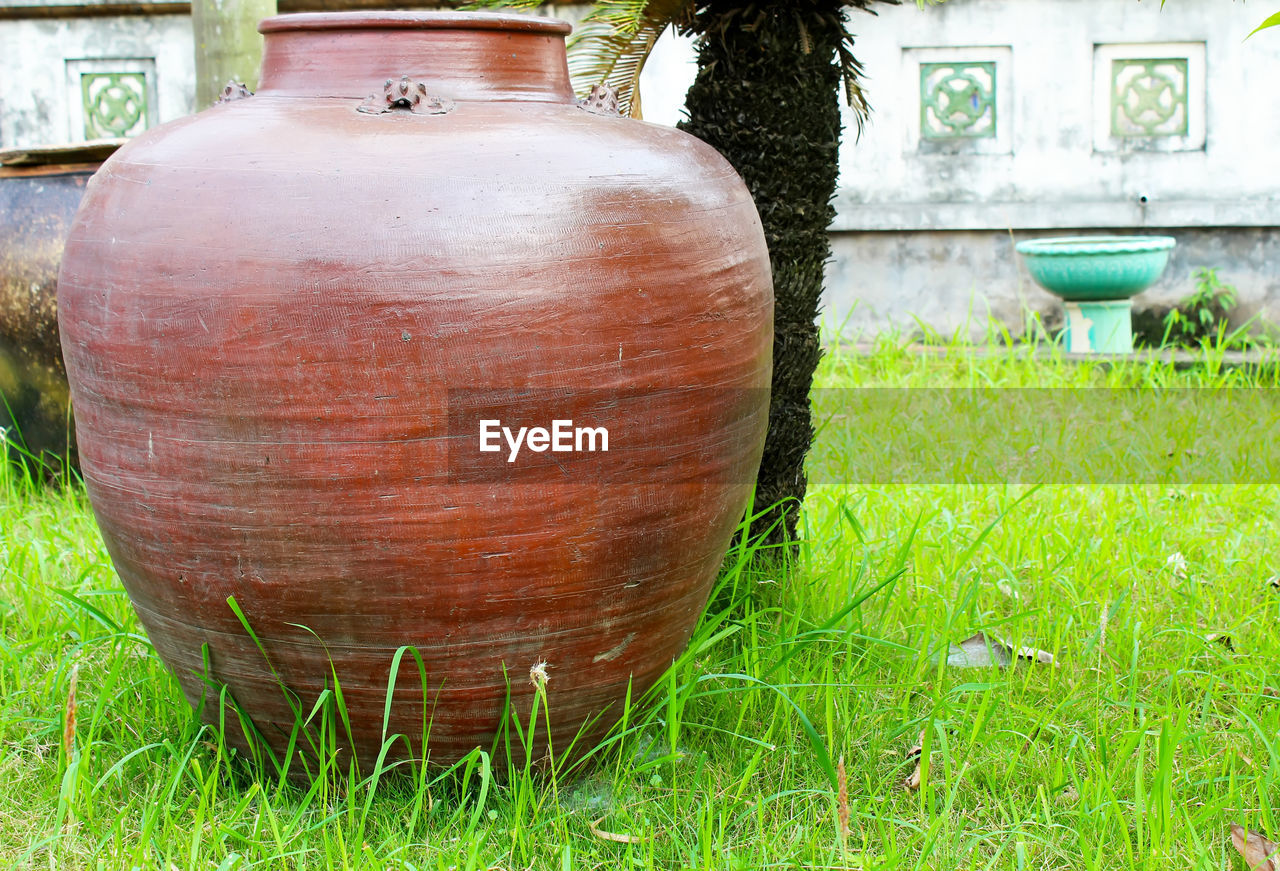 grass, day, no people, outdoors, barrel, green color, close-up