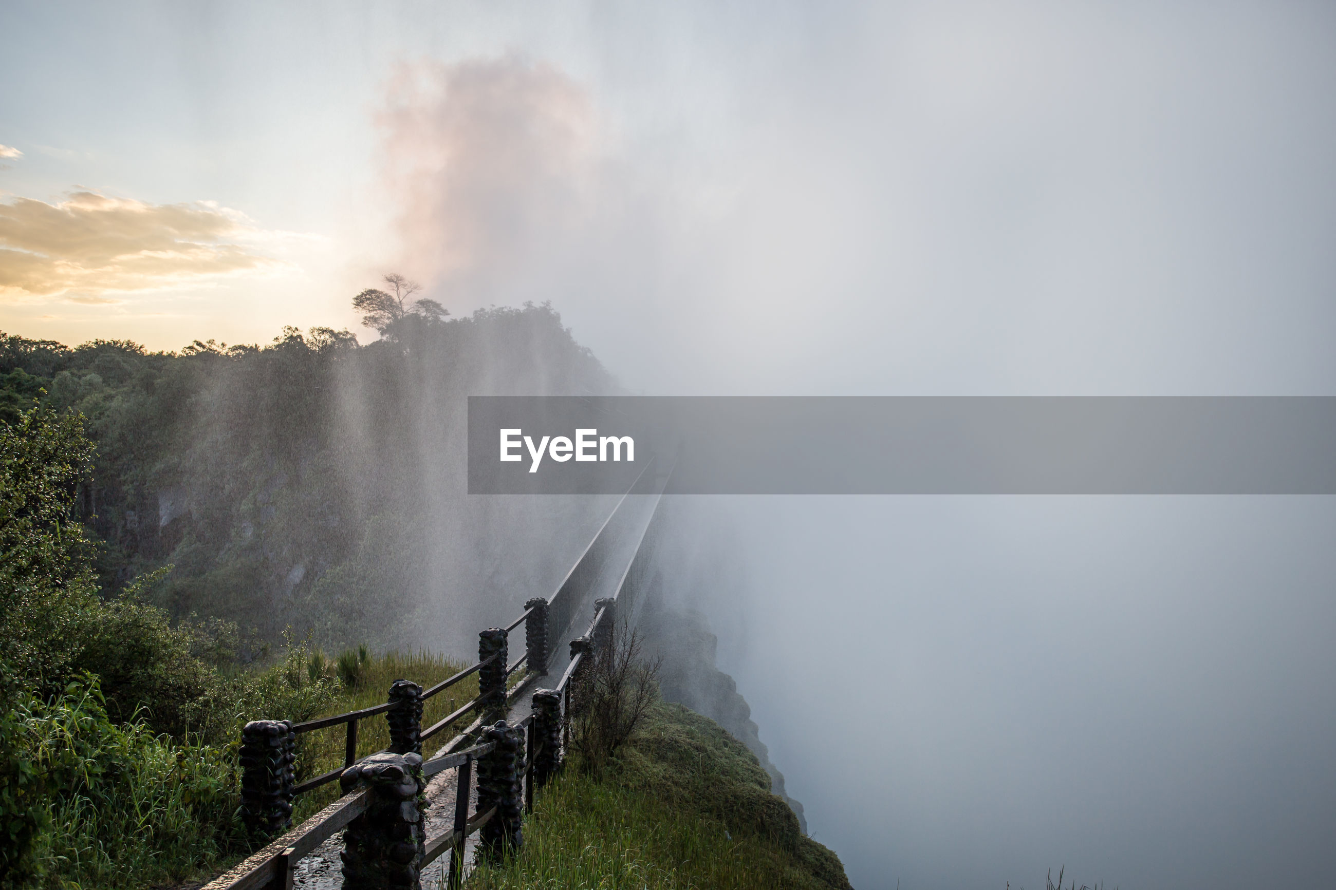 Scenic view of mountain in foggy weather