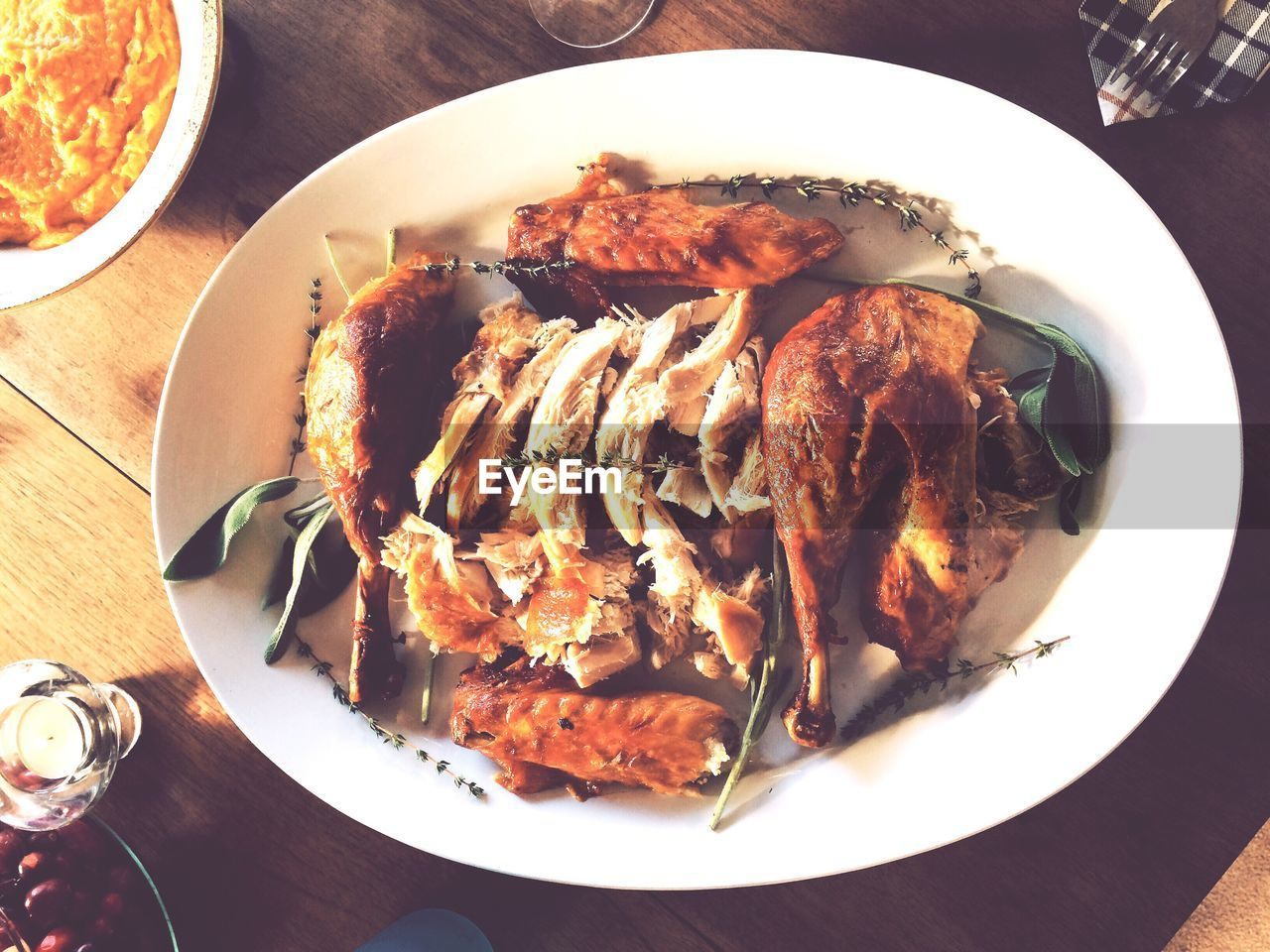 High angle view of chicken meat in plate on table