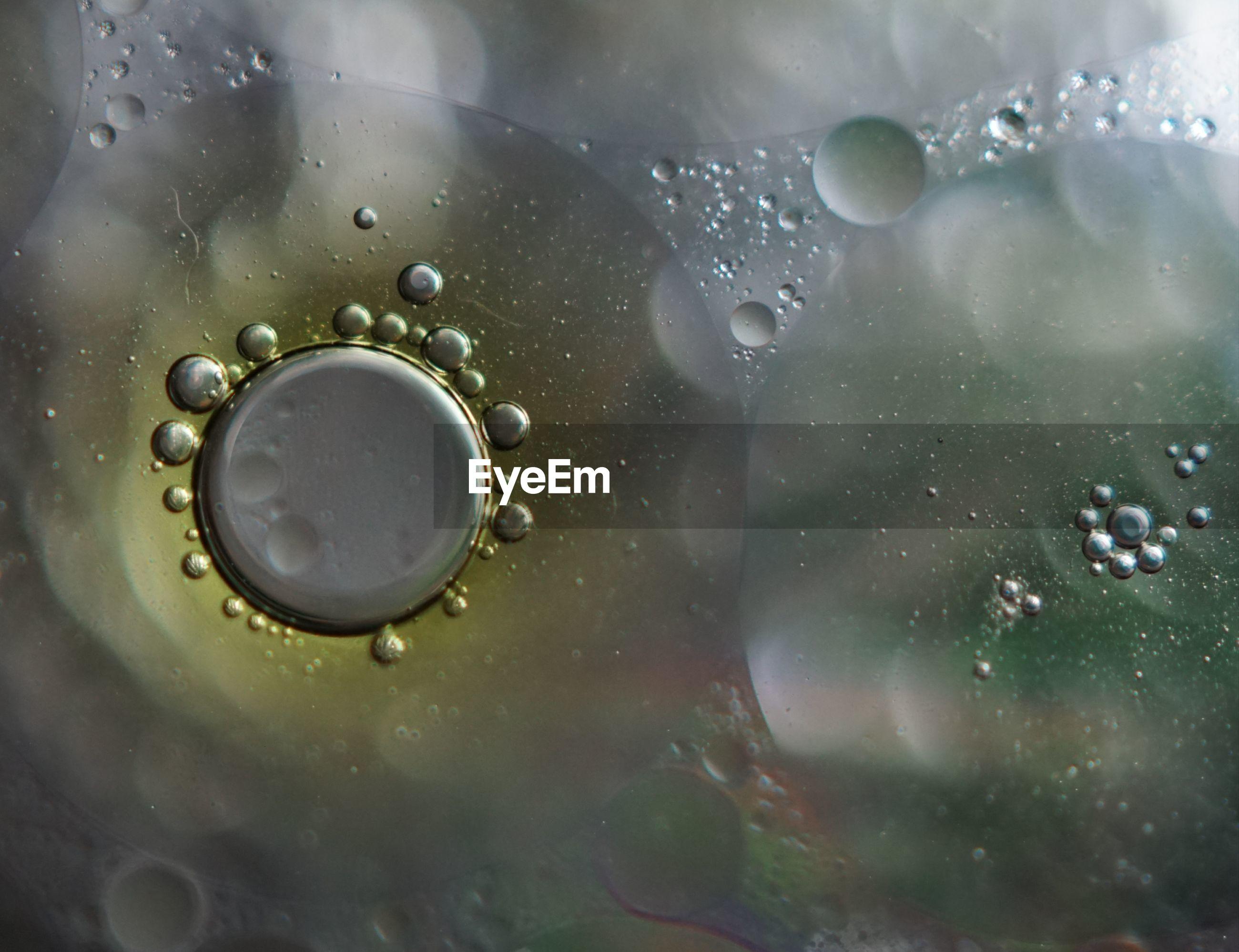 Full frame shot of oil drops on water