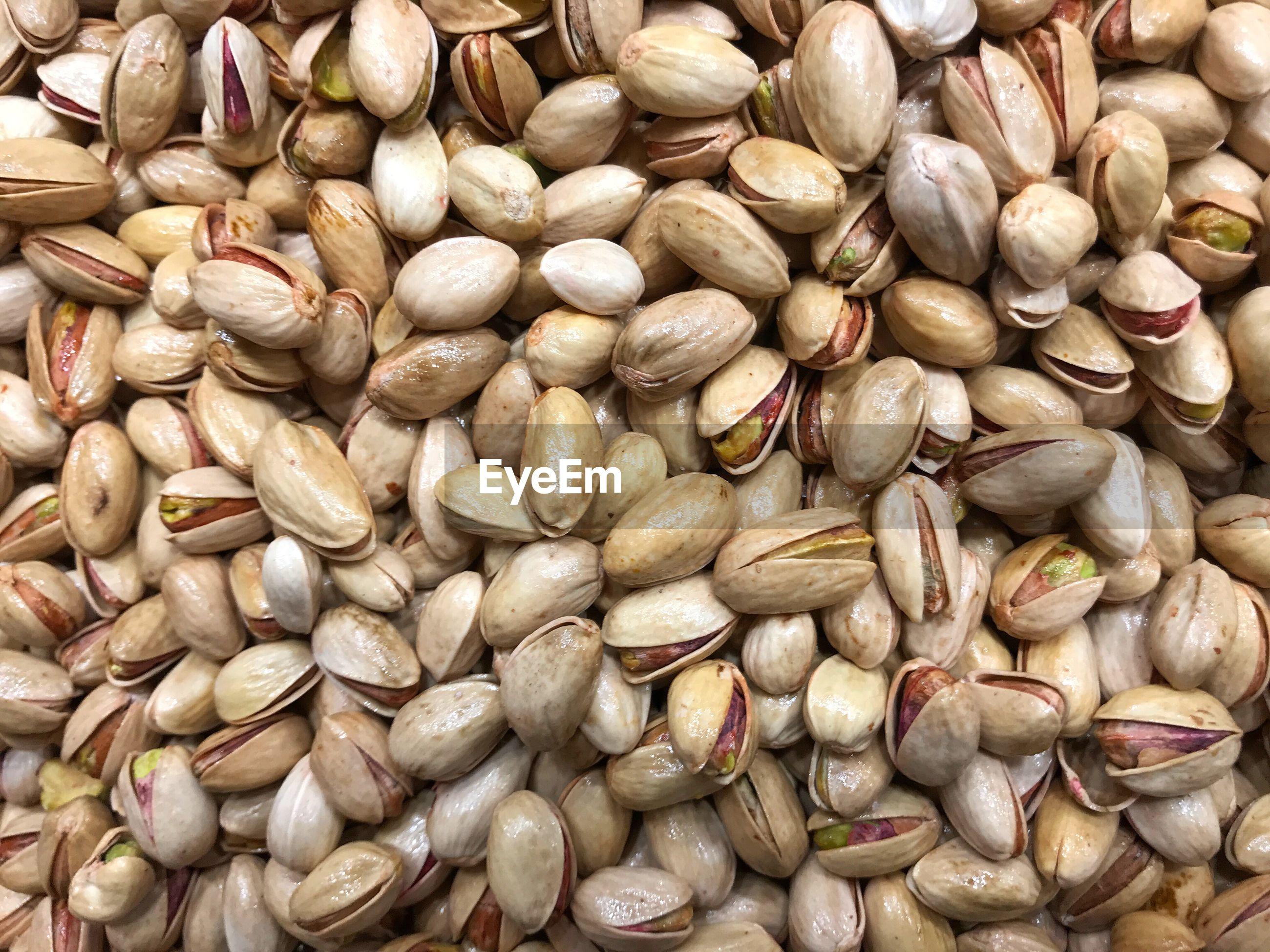 Full frame shot of pistachios