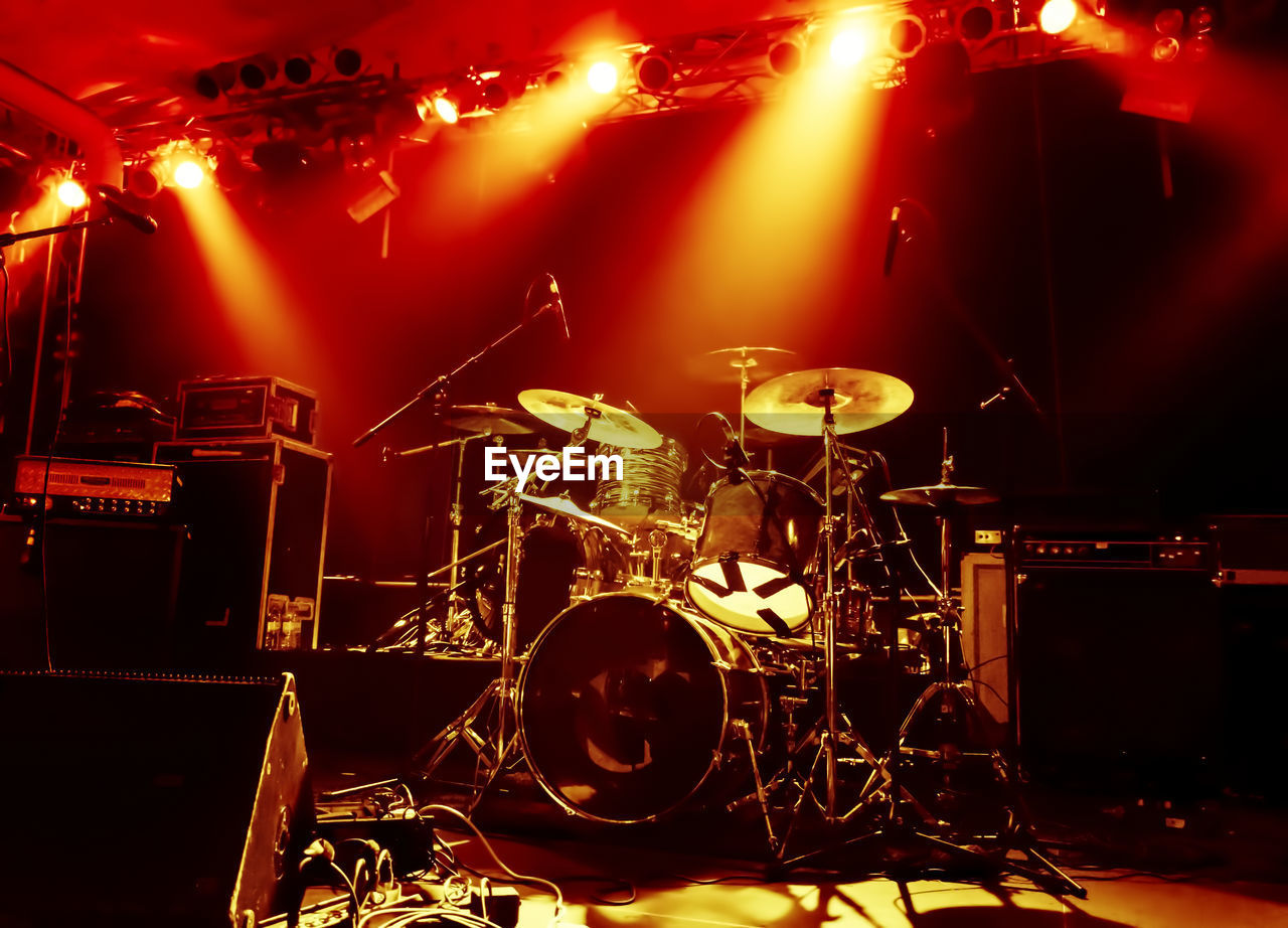 Drum Kit On Illuminated Stage