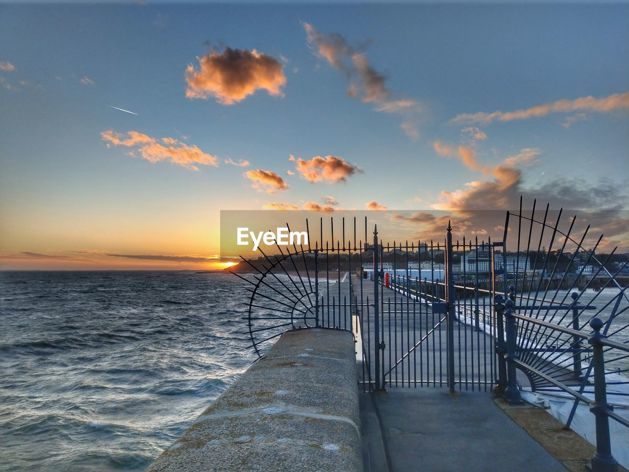 sky, sunset, cloud - sky, water, sea, scenics - nature, beauty in nature, nature, architecture, built structure, tranquil scene, orange color, no people, tranquility, horizon over water, horizon, idyllic, railing, beach, outdoors