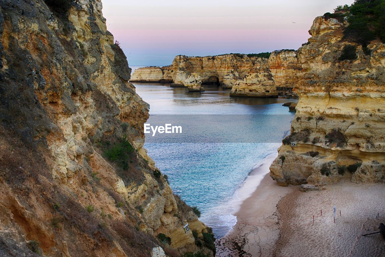 Scenic View Of Rock Formation At Praia Da Marinha