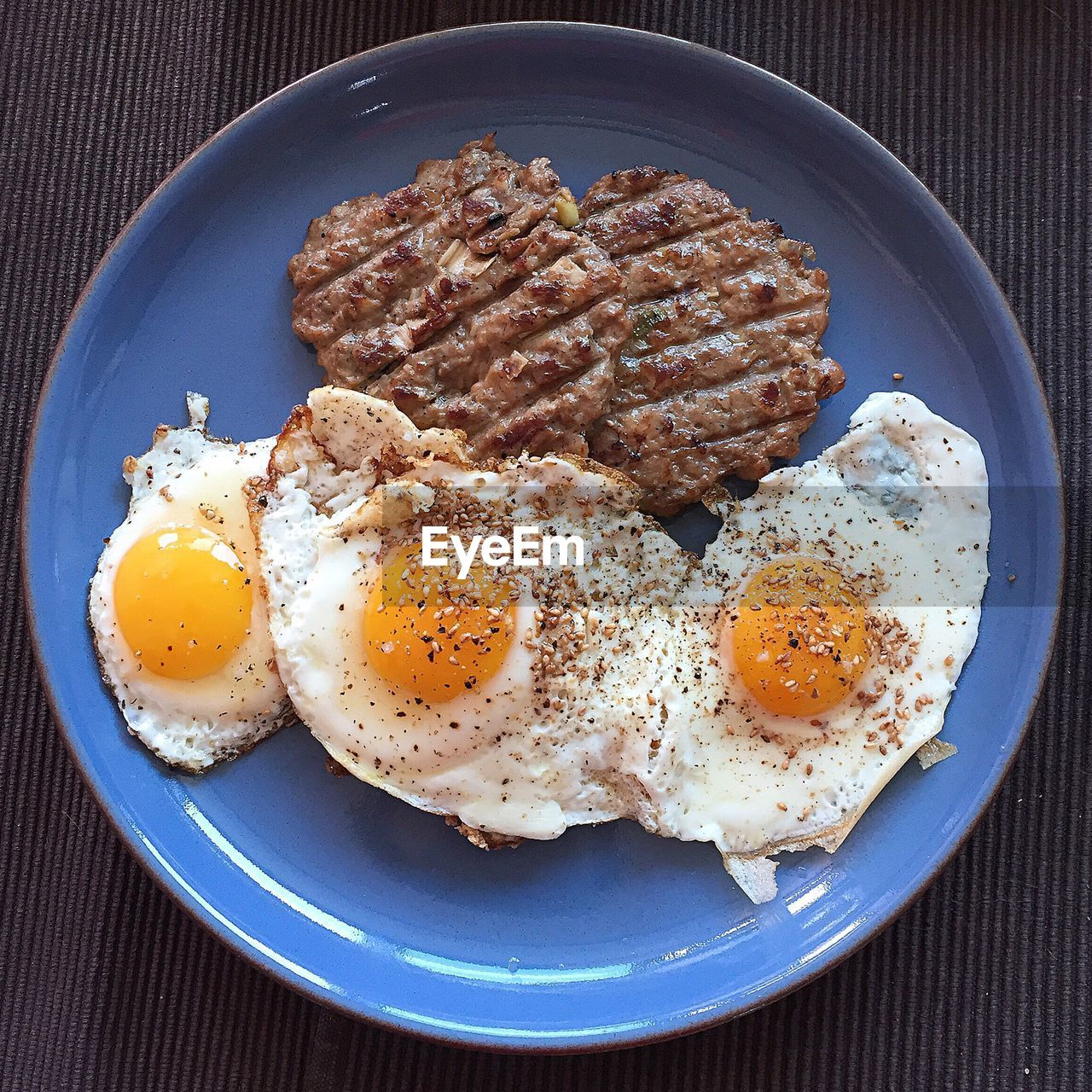 Directly above shot of breakfast in plate on table
