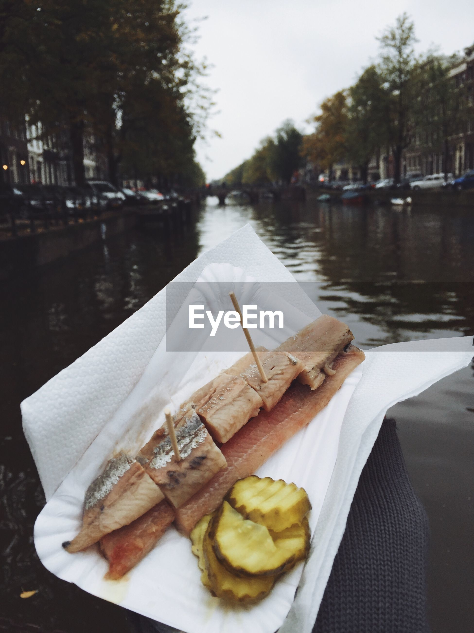 Cropped hand of person holding seafood against canal