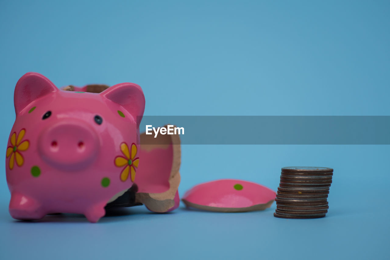 finance, investment, savings, piggy bank, studio shot, coin, blue, copy space, still life, wealth, colored background, business, indoors, currency, animal representation, blue background, no people, representation, pink color, cut out, coin bank