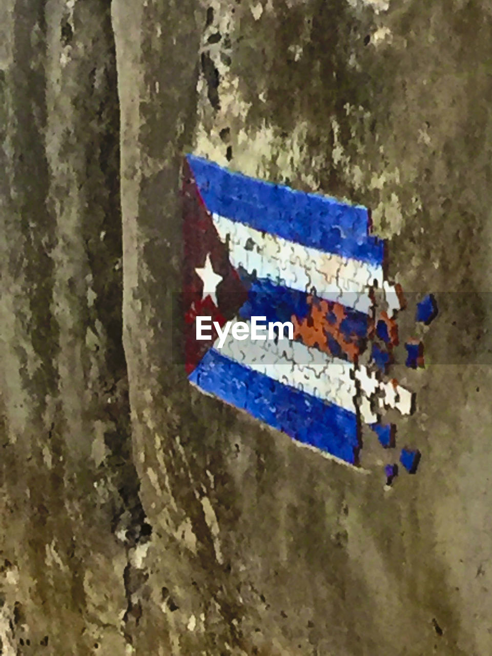 weathered, no people, textured, close-up, flag, paint, day, blue, outdoors