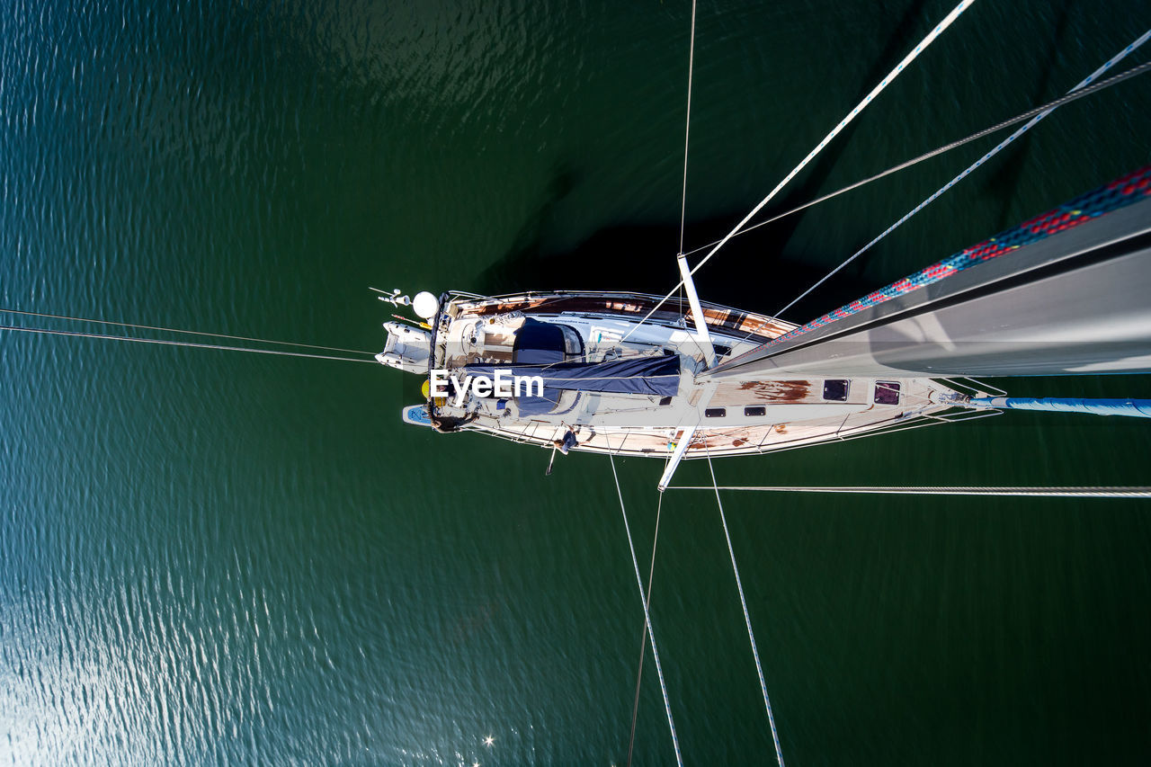 High Angle View Of Boat In Baltic Sea