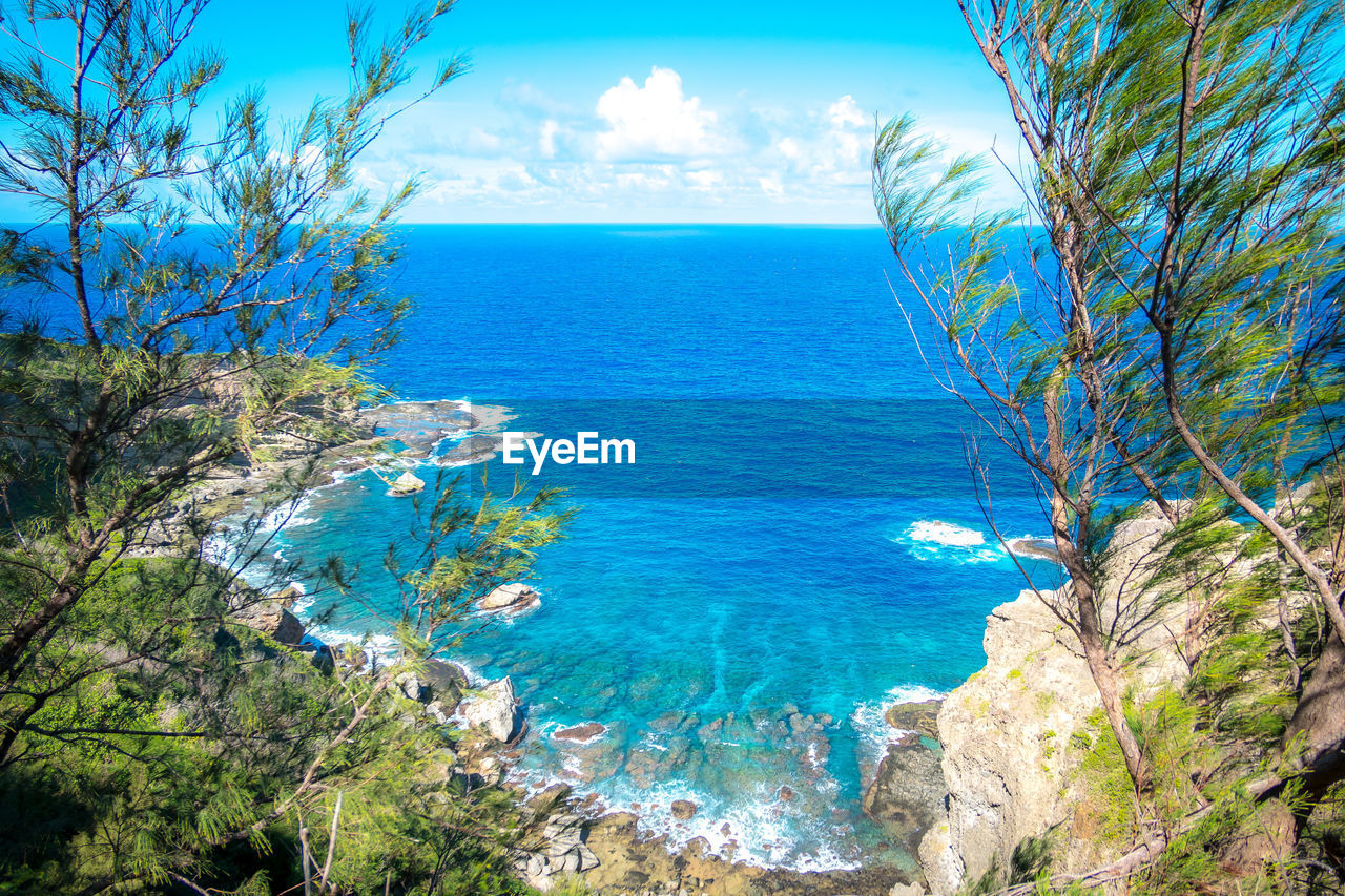 sea, water, beauty in nature, sky, horizon over water, scenics - nature, plant, tranquil scene, horizon, blue, nature, tranquility, tree, land, no people, day, idyllic, beach, non-urban scene, outdoors, turquoise colored