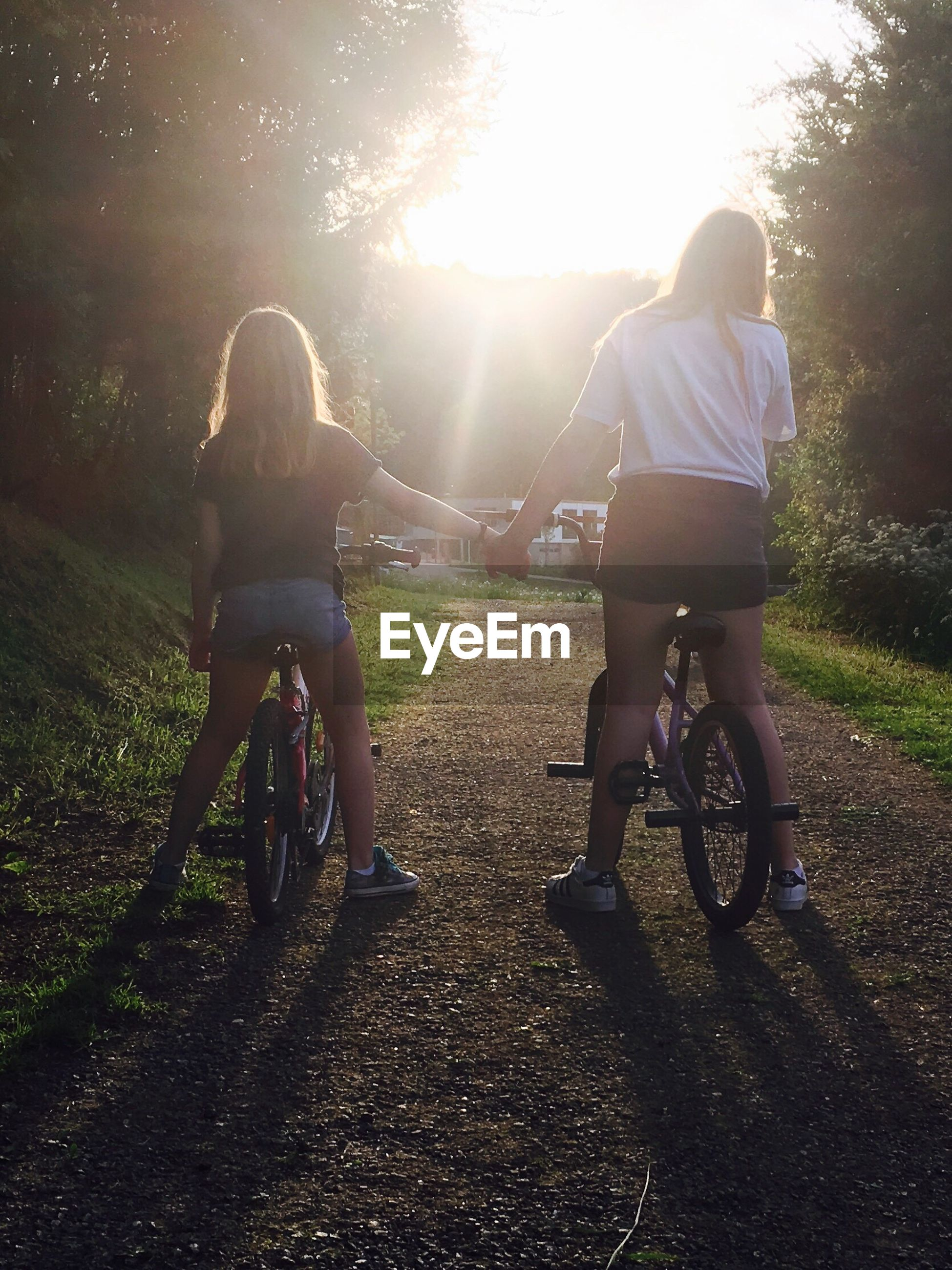 two people, bicycle, togetherness, real people, leisure activity, full length, rear view, casual clothing, childhood, bonding, lifestyles, tree, day, sunlight, riding, outdoors, transportation, girls, happiness, friendship, nature, grass, cycling helmet, sky, adult, people
