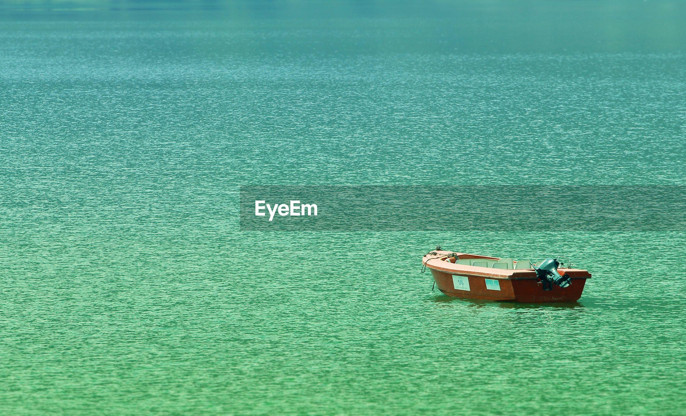 View of boat in calm sea