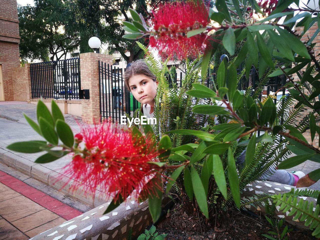 Girl Standing Against Red Flowering Plant